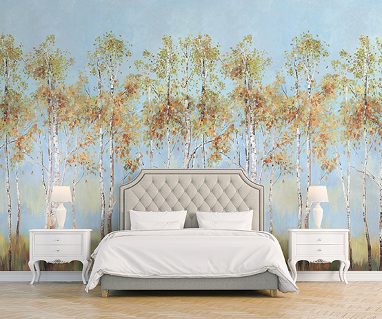 Обои Birch Tree Mural Woodlands Resource
